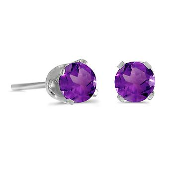 LXR 14k White Gold 4mm Round Natural Amethyst Plug Earrings 0.32ct