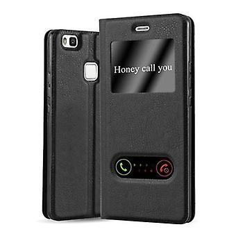 Cadorabo tilfelle for Huawei P9 LITE tilfelle tilfelle deksel - telefon veske med magnetisk lås, stativ funksjon og 2 visningsvinduer - Case Cover Beskyttende Case Bok Folding Stil