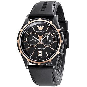 Emporio Armani Mens' Chronograph Watch - AR0584 - Black/Rose Gold