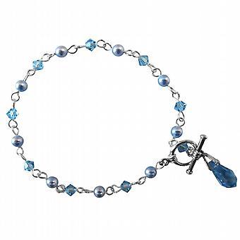 Blauwe sieraden Swarovski Aquamarine Teardrop charme bungelen armband