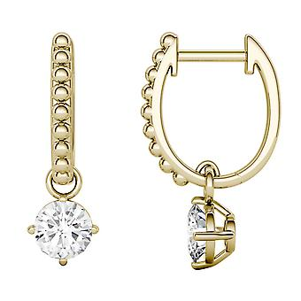 14K Yellow Gold Moissanite by Charles & Colvard 5mm Round Hoop Earrings, 1.00cttw DEW