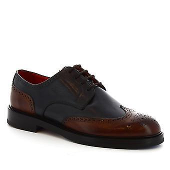 Leonardo Scarpe Donne's oxford brogue scarpe blu-burgundy in pelle