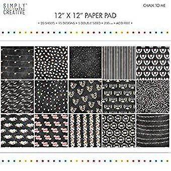 Simply Creative 12x12 Inch Paper Pad Chalk To Me (SCPAD071)