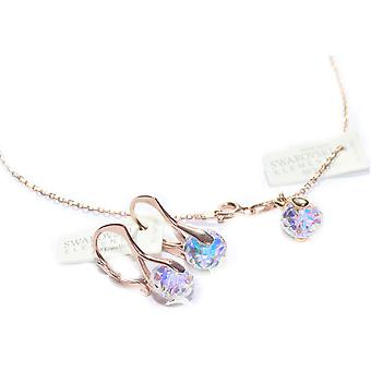 Ah! Jewellery Aurore Boreale Briolette Crystals From Swarovski Set, Sterling Silver