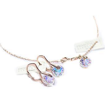 Ah! Kryształów Briolette Aurore Boreale biżuteria z zestaw Swarovski, srebro