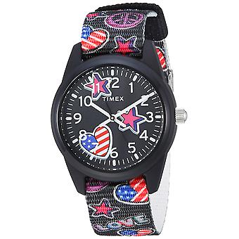 Timex Girls Time Machines Black/Stars & Flags Nylon Strap Watch TW7C23700