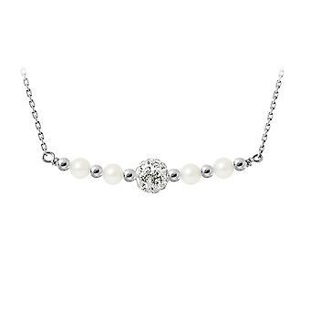 Hvit kultivert perler, krystall og sølv 925 halskjede