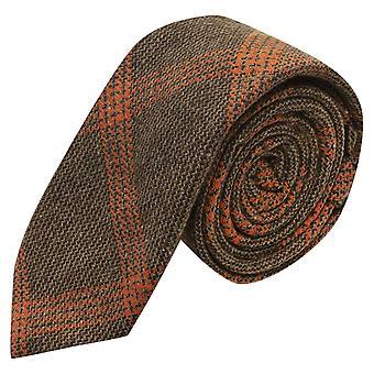 Biscuit Brown & Orange Birdseye Weave Check Tie