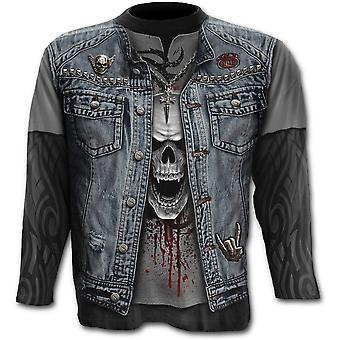 Spiraal-thrash metal-plus grootte over de hele print lange mouw t-shirt