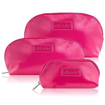 SHANY 3-in-1 ポータブルフェイクレザー化粧品ハンドバッグセット - ブラックナイロンインテリア付き大、中、小ジップオーガナイザー付き3ピースセット - PINK