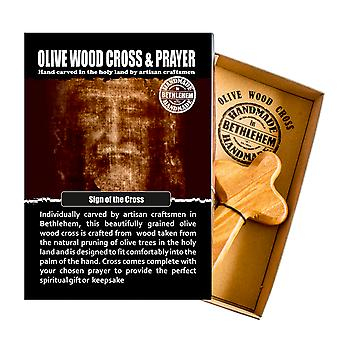 ベツレヘムで作られた十字架彫刻オリーブウッドコンフォートクロス宗教記念品の手のサイン