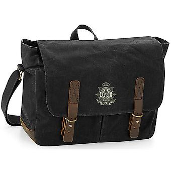 Border Regiment - Licenza British Army Ricamato Wax ed Canvas Messenger Bag