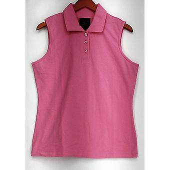 Kathleen Kirkwood Top Goldilocks Polo Solid Bright Pink A272676