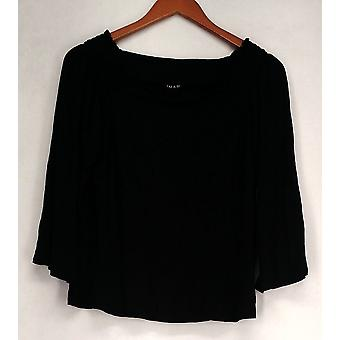 Iman Top Gc Convertible Tunic w/ 3/4 Sleeves Black Womens 473-148