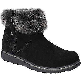 Hush Puppies Womens Penny Fur Collared Zip Up Ankle Boots