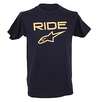 Alpinestars Mens T-Shirt ~ Ride 2.0 navy/orange
