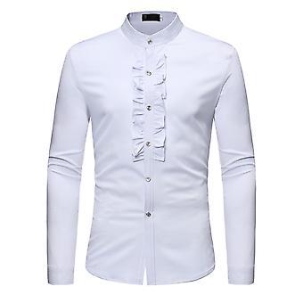 Allthemen الرجال & apos;ق الصلبة سليم حامل الياقات البيضاء مأدبة البدلة الرسمية قميص طويل الأكمام