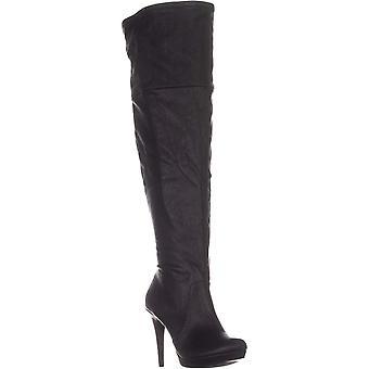 Thalia Sodi Womens BECKIE couro amêndoa Toe joelho alta moda botas
