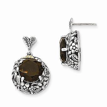 925 Sterling Silver With 14k Smokey Quartz Post Long Drop Dangle Earrings Jewelry Gifts for Women