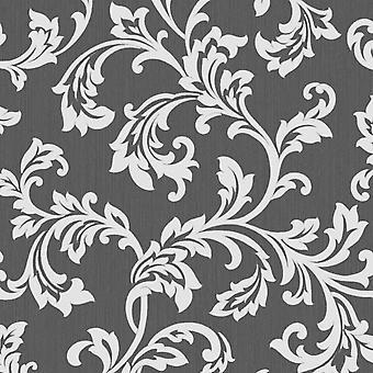Cavendish Floral Wallpaper Negro / Plata Decoración Fina FD40989