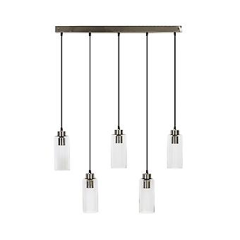 Light & Living Melina Glass Nickel Hanging Pendant Lamp 5L 84x13x125cm