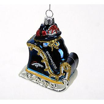 Denver Broncos NFL Blown Glass Sleigh Ornament