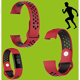 For Fitbit Charge 3 Plastic / Silicone Bracelet for Men / Size L Red-Black Watch