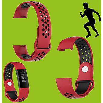 Voor Fitbit charge 3 kunststof/siliconen armband voor mannen/maat L rood-zwart horloge