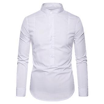 Allthemen Men's Stand Collar Solid Strip Casual Long Sleeve Shirt