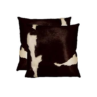 """18"""" x 18"""" x 5"""" Chocolate And White Cowhide - Pillow 2-Pack"""
