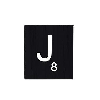 Black Wooden Scrabble Letters with Printed Numbers and Alphabets -J