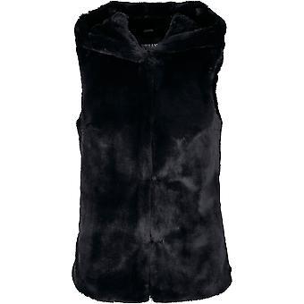 Urban Classics Women's Vest Hooded Faux Fur
