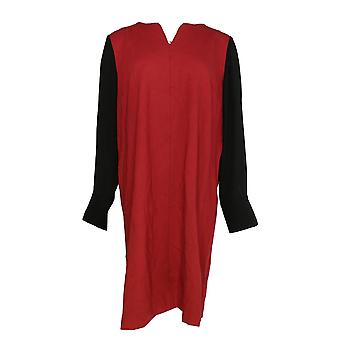Kelly par Clinton Kelly Robe Georgette Manche V-Neck Ponte Knit Red A283509