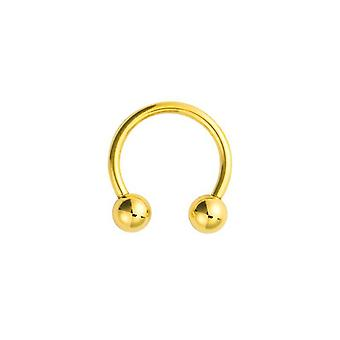 Jewelco London Unisex Solid 9ct Yellow Gold Horseshoe 1.1mm Gauge Barbell Body Ring Piercing, 11mm