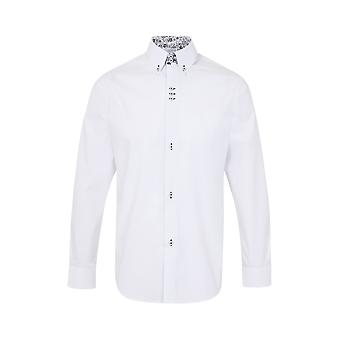 JSS  White Regular Fit 100% Cotton Shirt With Navy Button Down Collar