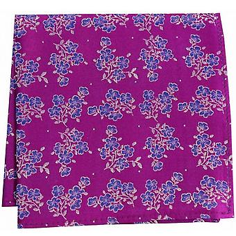 David Van Hagen Small Flowers Silk Pocket Square - Magenta Pink