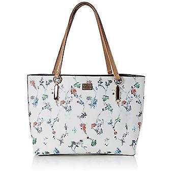 BESSIE LONDONLarge Floral Print Bag In Bag Shopper Women's Shoulder BagWhite (Tan)11x35x38 Centimeters (W x H x L)