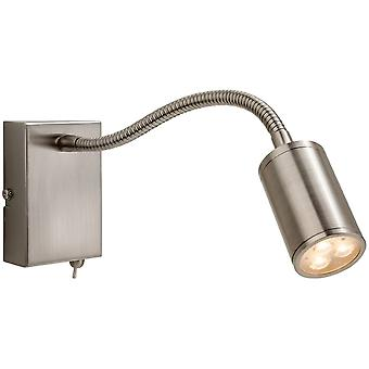 Firstlight Motive Modern Brushed Steel Adjustable Neck Wall Light