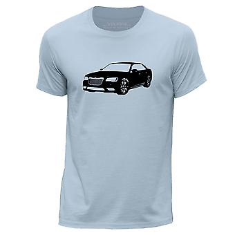 STUFF4 Hombres's Round Neck Camiseta/Stencil Car Art / 300C SRT8/Sky Blue