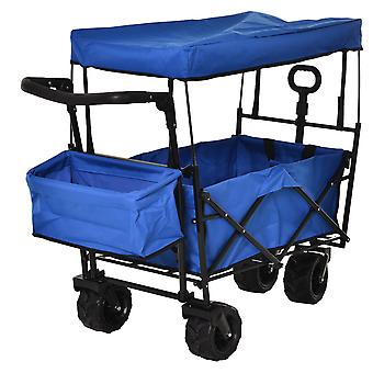 DURHAND Folding Trolley Cart Storage Wagon 4 Wheels w/ 2 Compartments Handle Overhead Canopy Cart Push Pull For Shopping Camping Garden - Blue