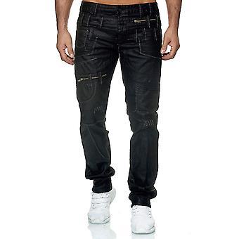 Mens pants leather look black stitches pattern eyecatcher biker regular jaylvis
