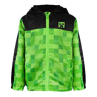Minecraft Boys Creeper Fleece Fodrad Regnrock Hooded Jacka