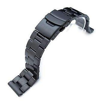 Strapcode ساعة سوار 19mm، 20mm أو 21mm pvd الأسود 316l الفولاذ المقاوم للصدأ سوبر سوار مشاهدة المحار