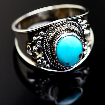 Larimar Ring Size 8 (925 Sterling Silver)  - Handmade Boho Vintage Jewelry RING999166