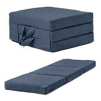 Fun!ture | Single Portable Foam Opvouwbare matras met carry handgrepen in linnen effect bekleding stof. Gastenmatras kan worden opgeborgen voor opslag (Middernacht)