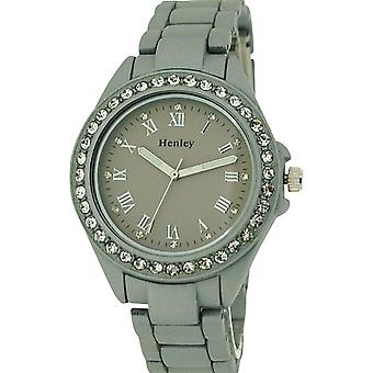 Henley Glamour Ladies Diamante Bezel Silver Soft Touch  Rubberised WatchH07202.1