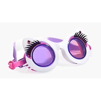 Girls fun cat shaped white swimming goggles with lashes