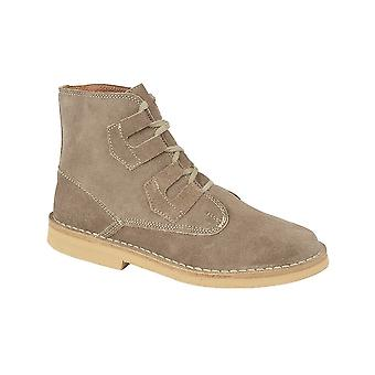 Roamers Dark Taupe Real Suede Ghillie Tie Desert Boot Textile Lining Pvc Micro Sole