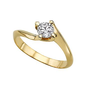 0.60 CT 5.50MM Forever One Moissanite Engagement Ring 14K Yellow Gold 4 Prongs Twist Round