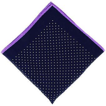 Eingewandt London Pin Dot mit Grenze Seide Taschentuch - Marine/lila